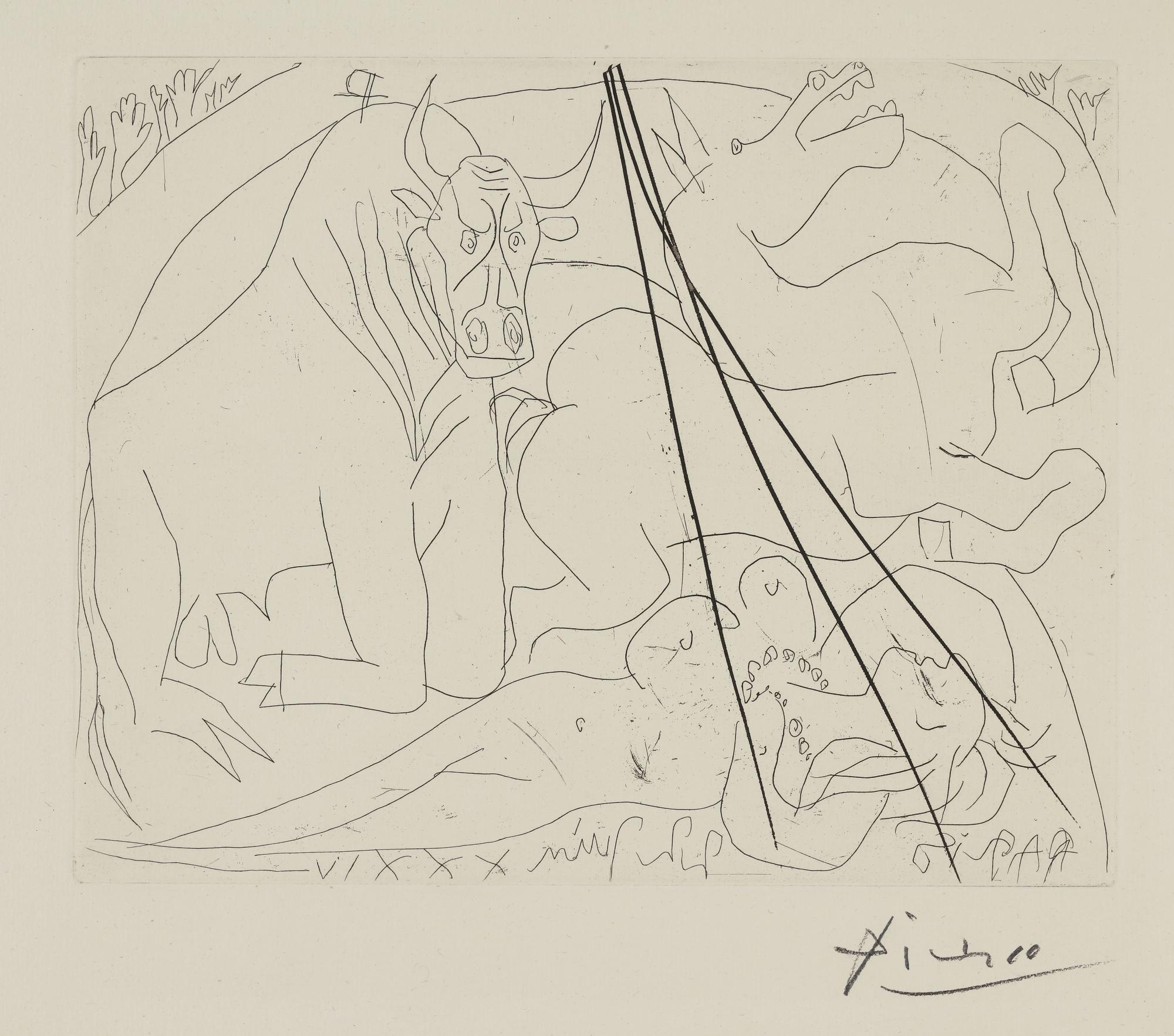 Pablo Picasso-Taureau Mourant Agenouille Devant Une Femme Nue Morte (B. 221; Ba. 427)-1934