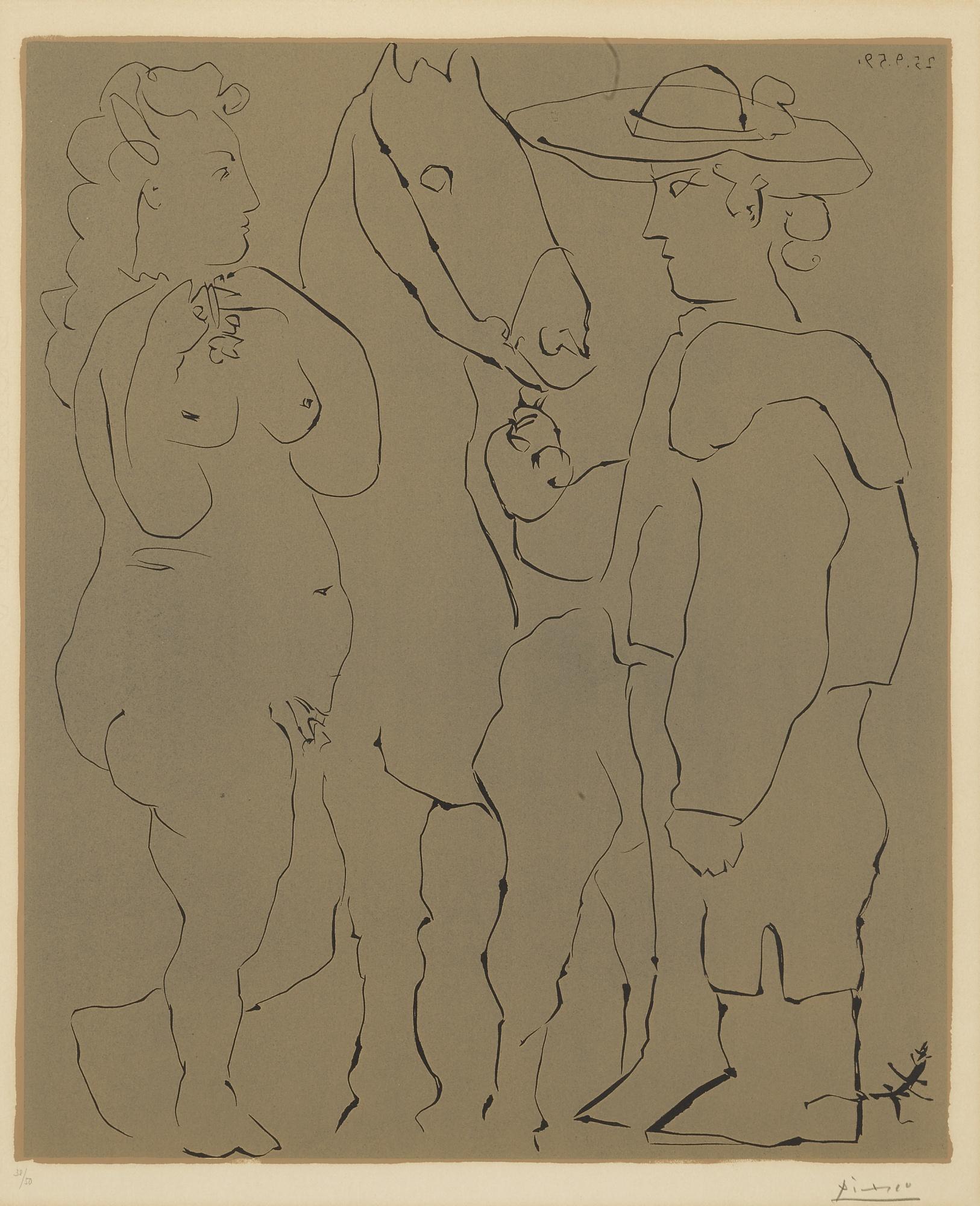 Pablo Picasso-Picador Debout Avec Son Cheval Et Une Femme (B. 913; Ba. 1238)-1959