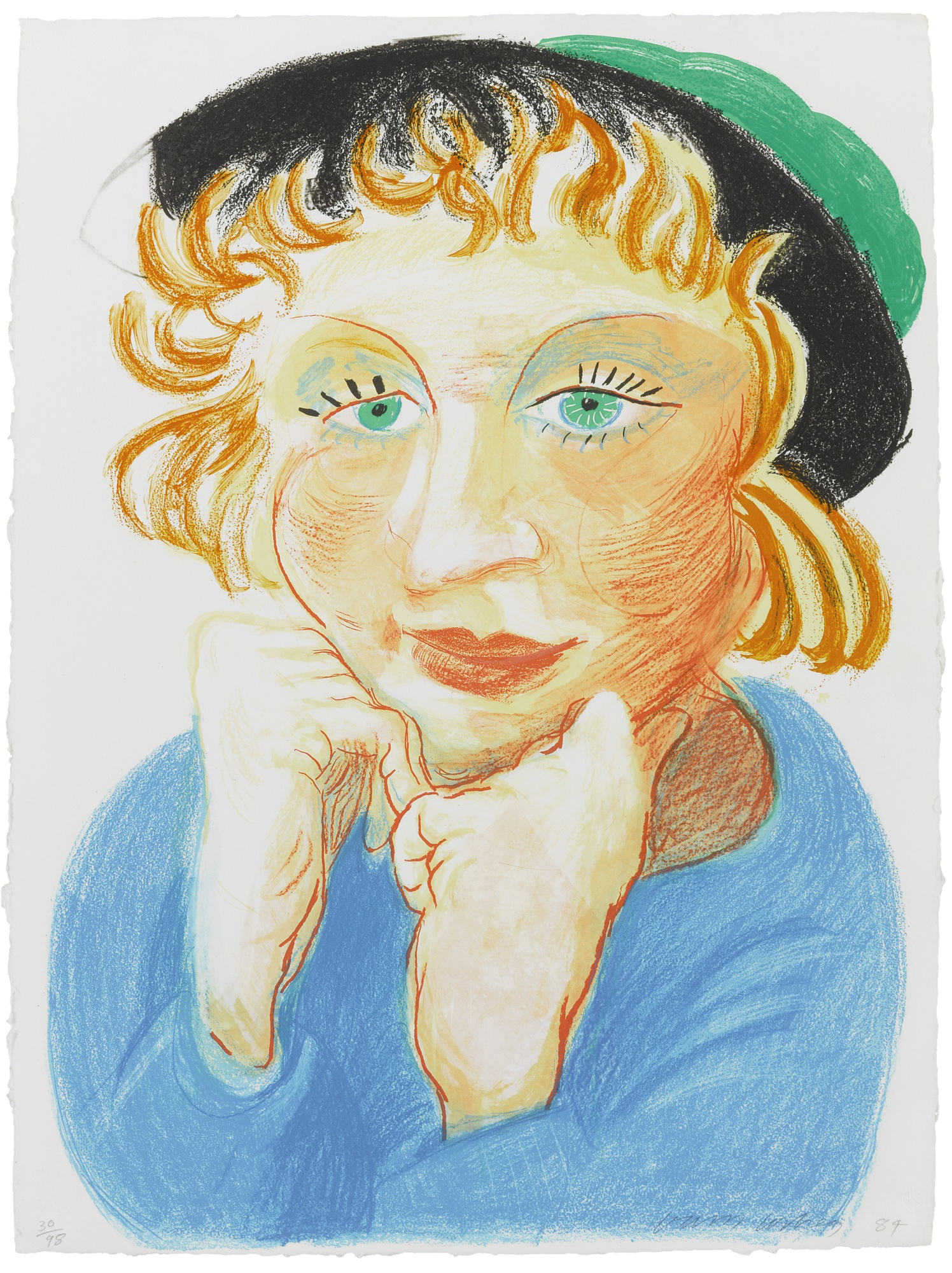 David Hockney-Celia With Green Hat (M.C.A.T. 268)-1984
