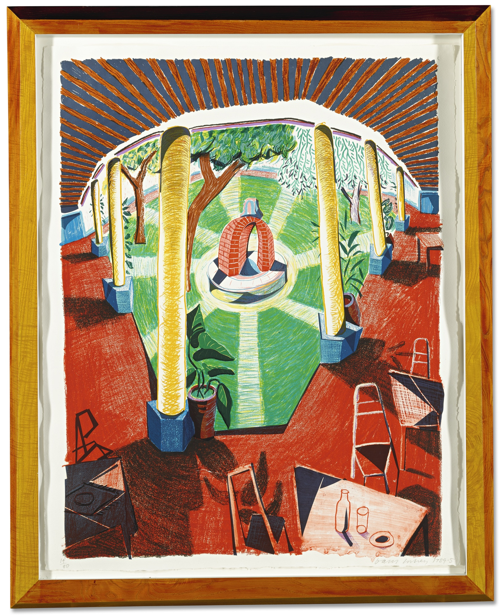 David Hockney-View Of Hotel Well III (M.C.A.T. 274)-1985