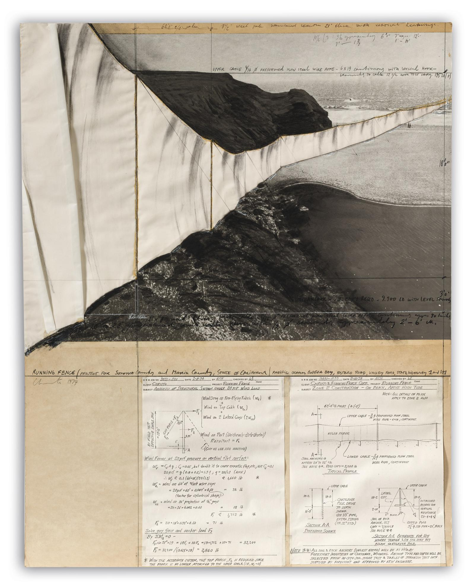 Christo and Jeanne-Claude-Running Fence (Project For Sorona County And Maxin County, State Of California/Pacific Ocean, Bodega Bay, Estero Road, Valley Ford, State Highway 1 And 101)-1974