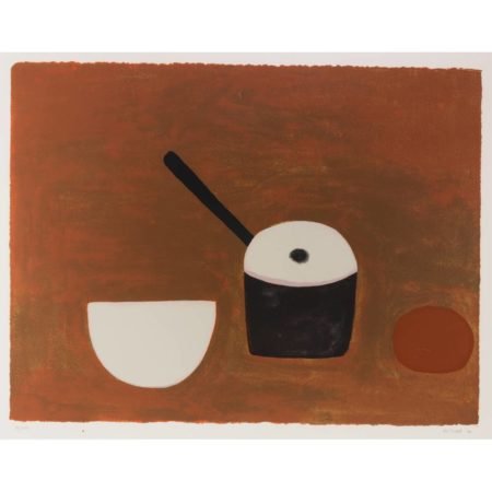 William Scott-White Bowl, black Pan on Brown-1970
