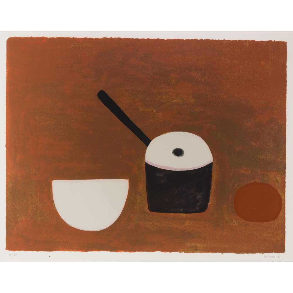 William Scott-White Bowl, black Pan on Brown-1970