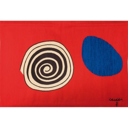 Alexander Calder-The Bicentennials Tapestries: 'La Tache Bleue'/ The Blue Stain (1975) signed in ballpoint with the artist's monogram on Pinton tapestry label on the reverse, dated and titled, with woven signature, editon number and Pinton tapestry mark hand woven wool tapestry, number 6 from a planned edition of 200, 103x150 cm Manufactured by Atelier Pinton Freres, Aubusson, France. Literature:  - Pinton Freres/Jeffrey Metzner, 'The Bicentennial Tapestries. Alexander Calder', sales catalogue 1975, illus. in colour. - 'Calder's Universe', Jean Lipman, Ruth Wolfe (ed.), Philadelphia 1989, p. 157.-1975