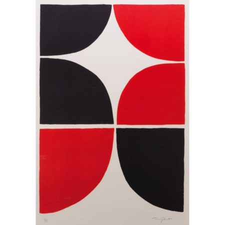 Terry Frost-Red and Black Solid; Red and Black Linear-1968
