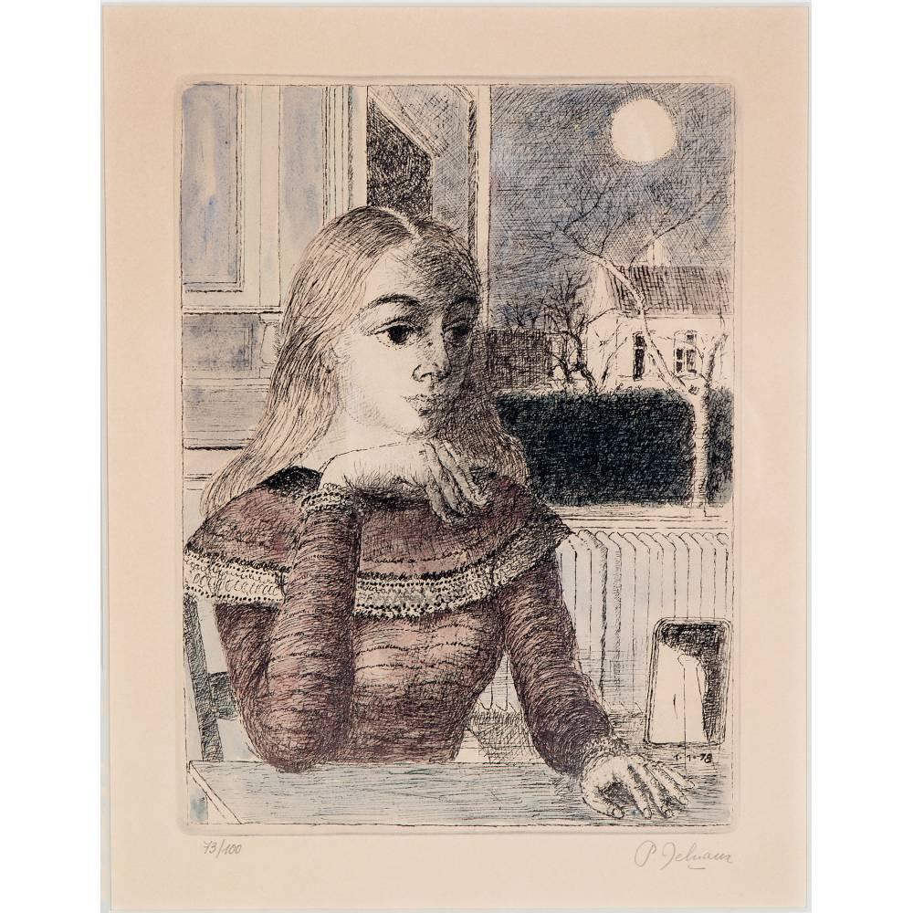Paul Delvaux-Jeune fille assise devant la fenetre ouverte-