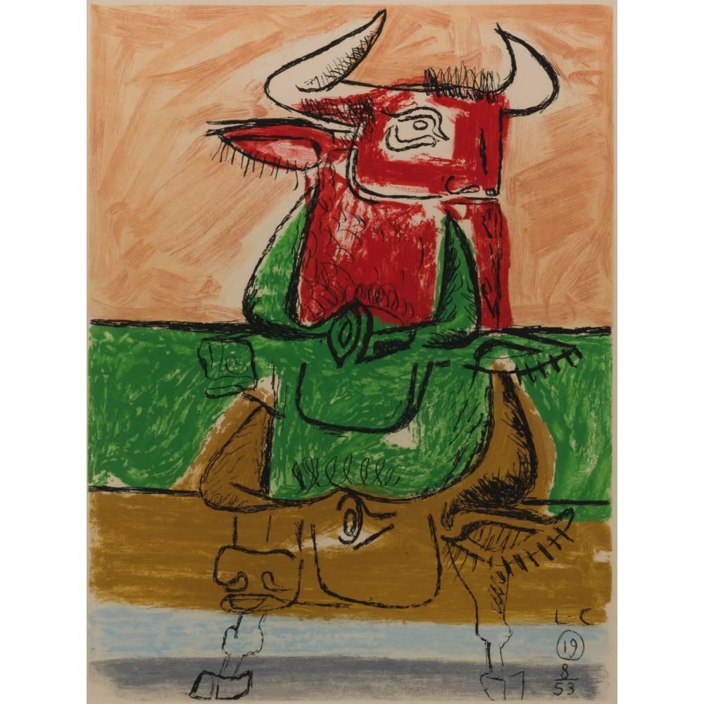 Le Corbusier-Trois taureaux, plate 19 from the album 'Unite'/ Unit-1953