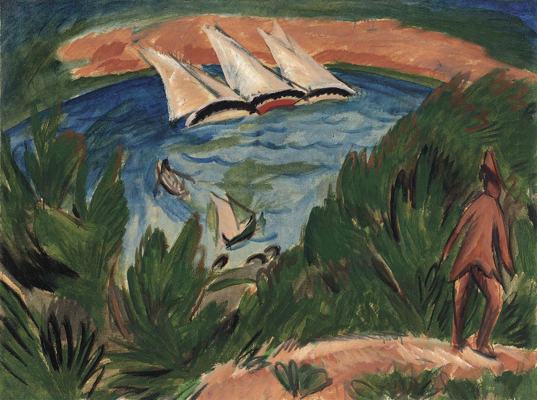 Ernst Ludwig Kirchner-Segelboote Im Sturm-1912