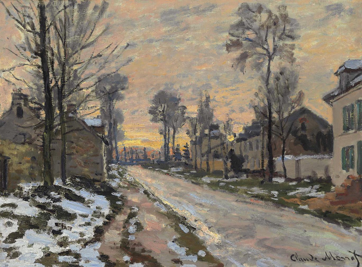 Claude Monet-Route A Louveciennes, Neige Fondante, Soleil Couchant-1870