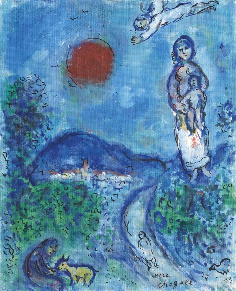 Marc Chagall-Maternite Au Soleil Rouge-1977