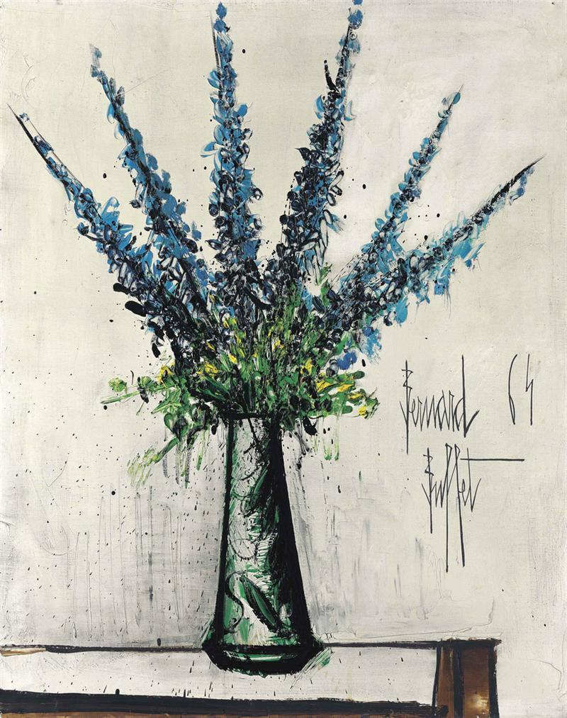 Bernard Buffet-Delphiniums Bleus-1964