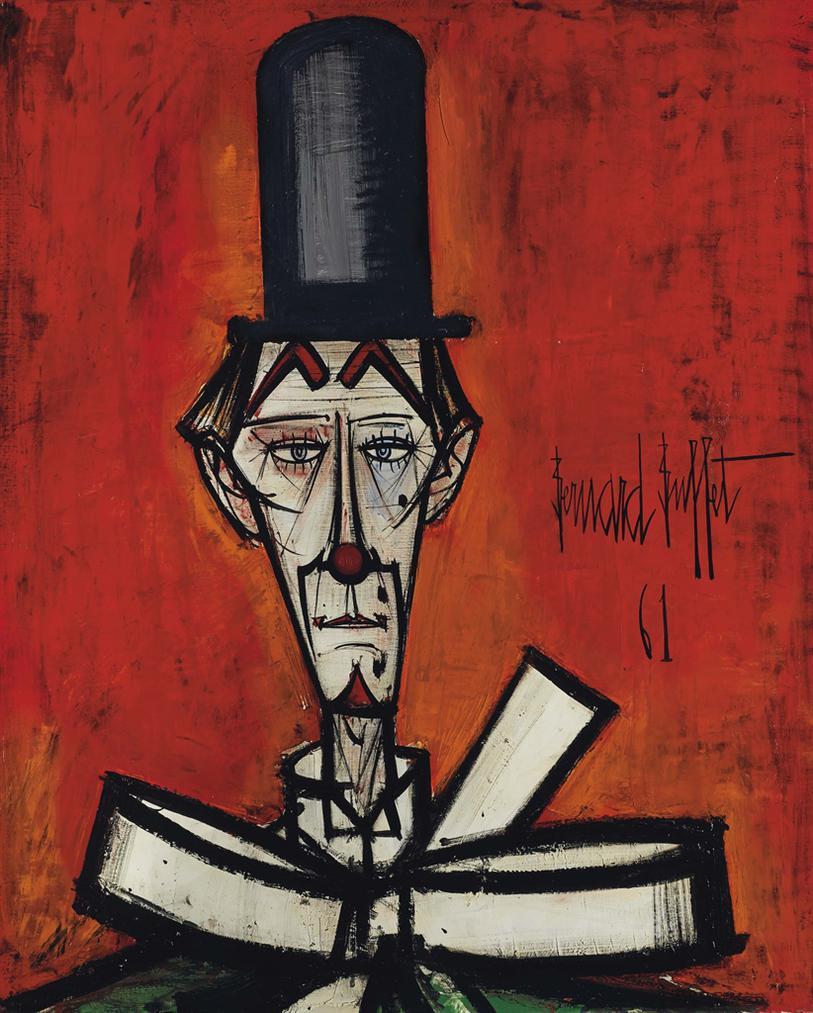 Bernard Buffet-Clown Au Chapeau Noir Fond Rouge-1961