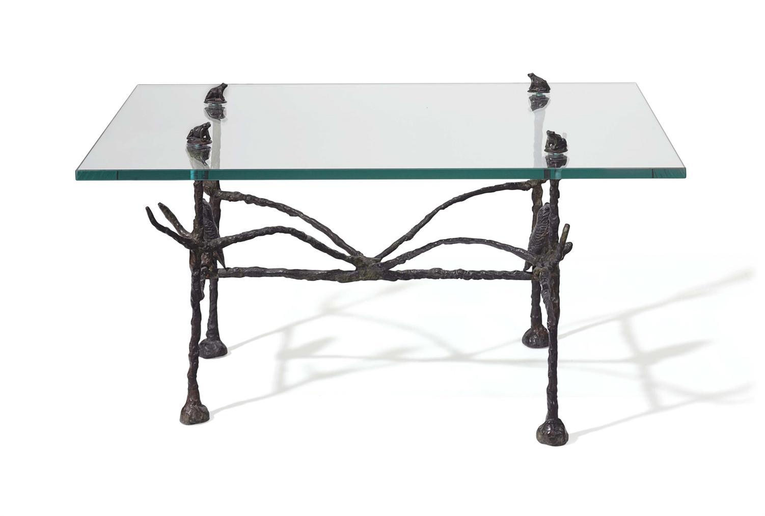 Diego Giacometti-Table Basse Trapezoidale, Modele Aux Hiboux Et Grenouilles-