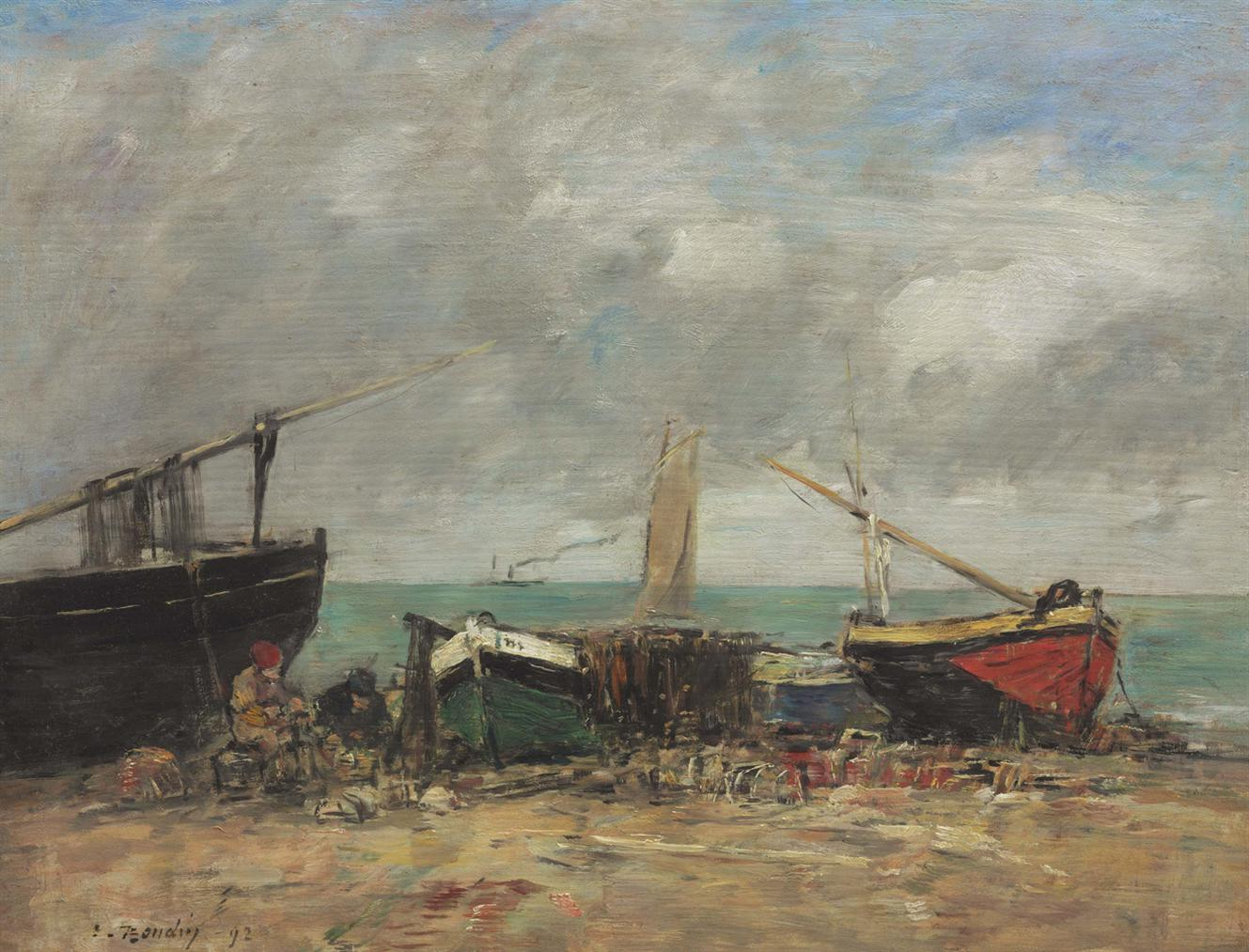 Eugene Louis Boudin-Voiliers, Maree Basse-1892