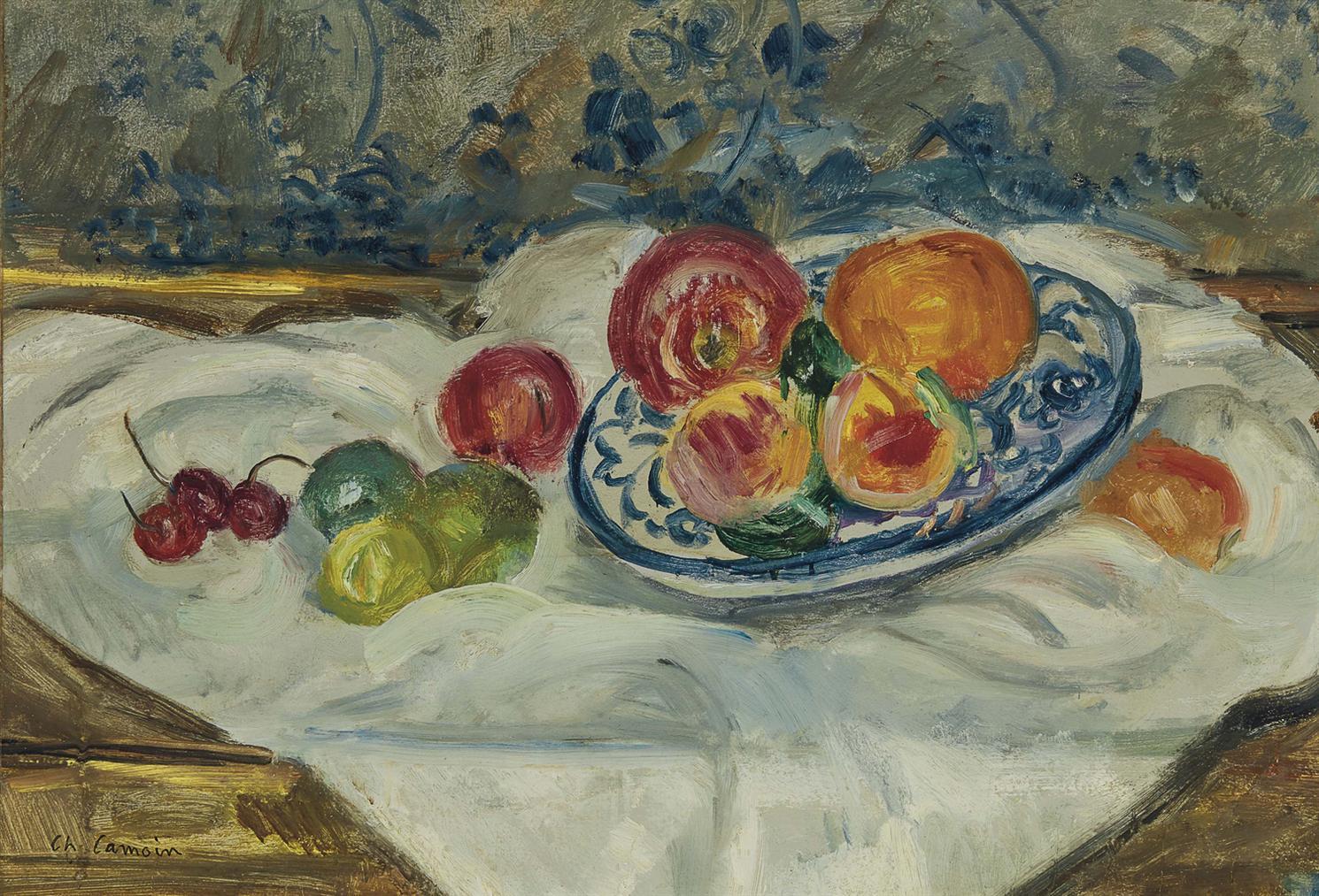 Charles Camoin-Assiette Bleue Aux Peches Et Aux Cerises-1960