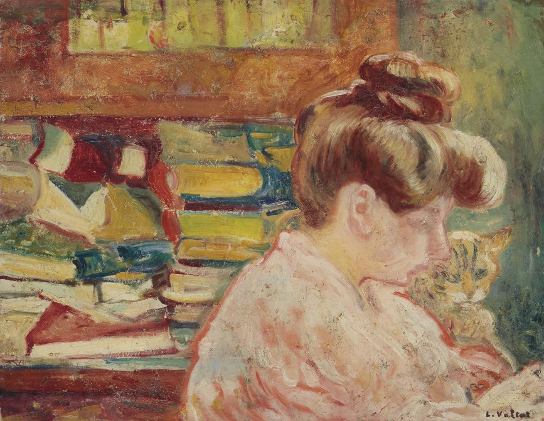 Louis Valtat-Femme Au Chat Et Livres-1905