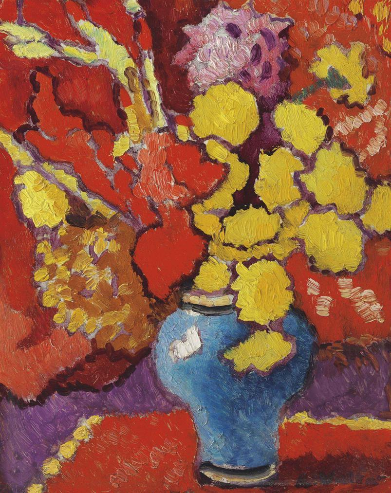 Louis Valtat-Vase De Fleurs Sur Un Fond Rouge-1940