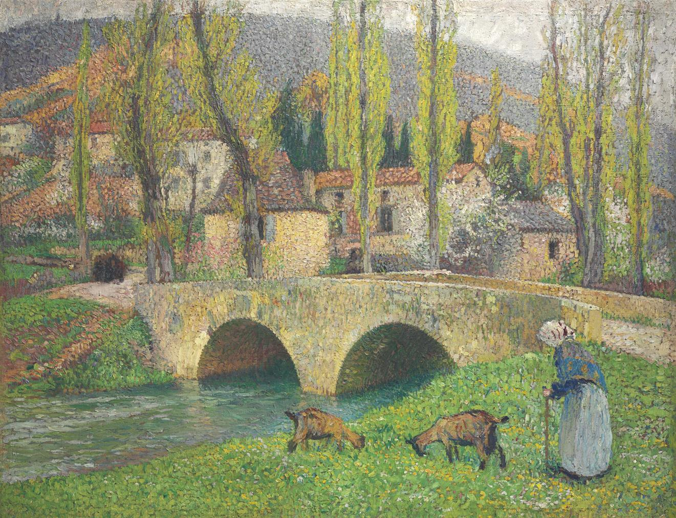 Henri Martin-Vieille Femme Menant Deux Chevres Pres Du Pont De Labastide-Du-Vert-1905