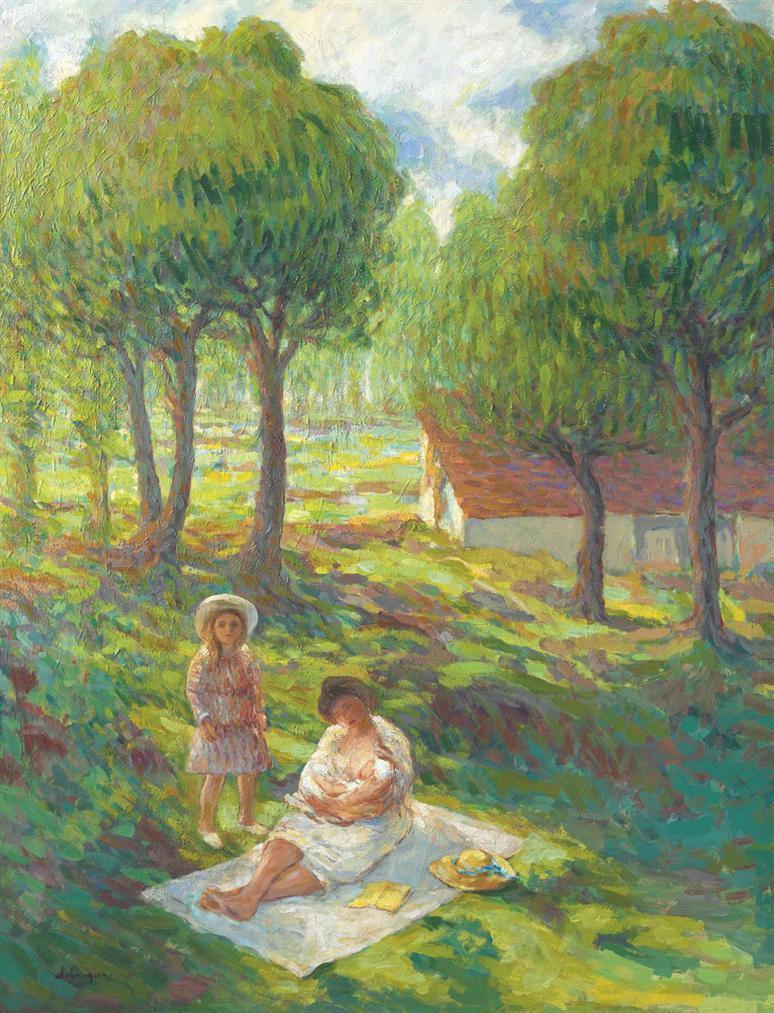Henri Lebasque-Mere Et Enfant Dans Un Paysage-1901