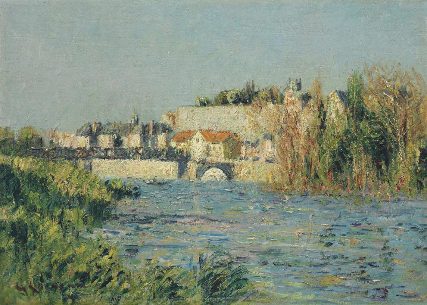 Gustave Loiseau-Vue De Ville Ensoleillee A Travers La Riviere (L'Oise A Pontoise)-1914