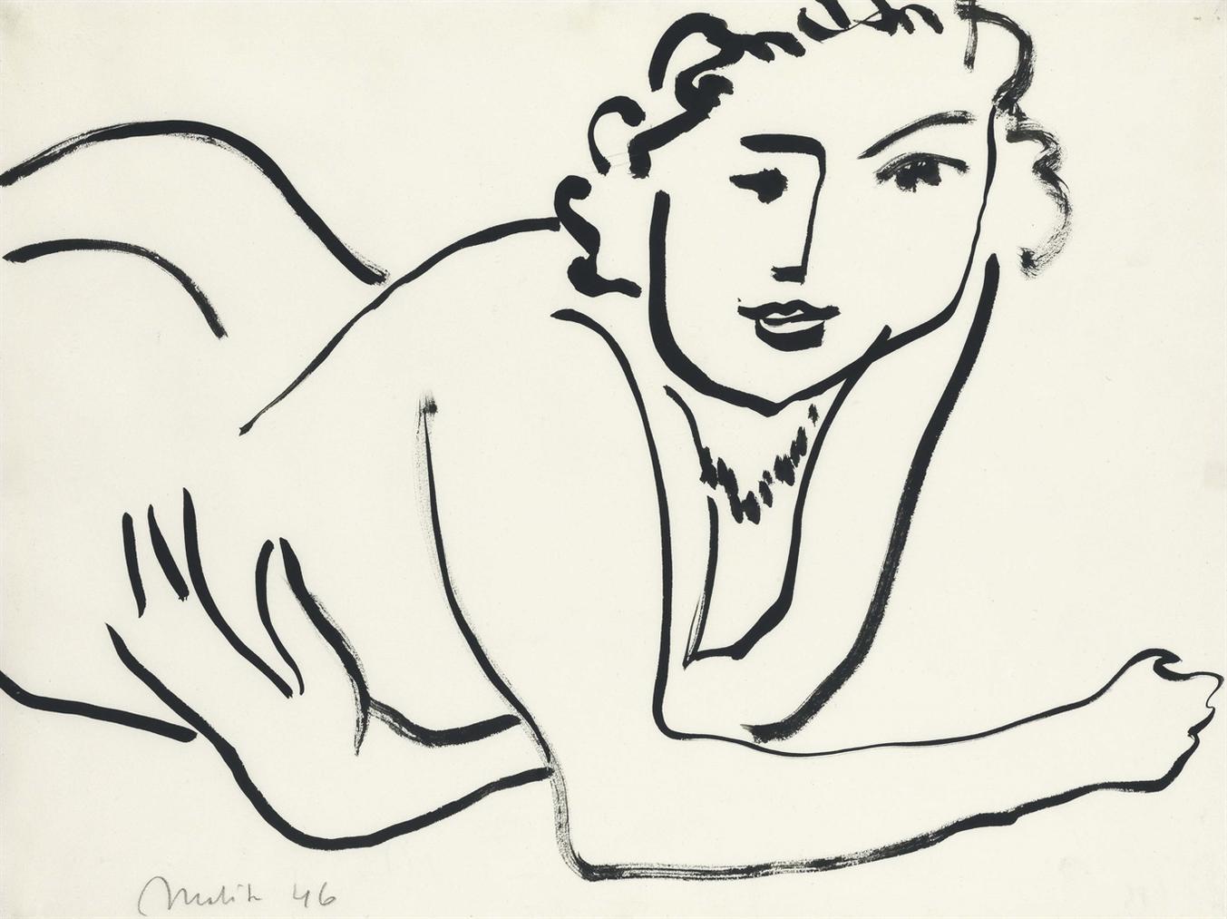 Henri Matisse-Nu Couche Accoude-1946