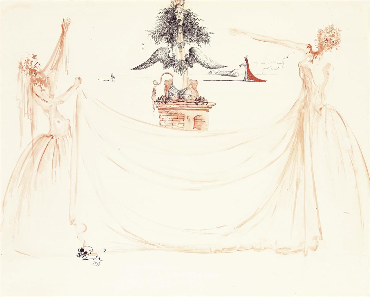 Salvador Dali-Deux 'Esprits De Lamour' Tiennent Un Voile Devant La 'Chimere Dyseult' (Isolde); Etude Pour Le Ballet Tristan Fou-1944