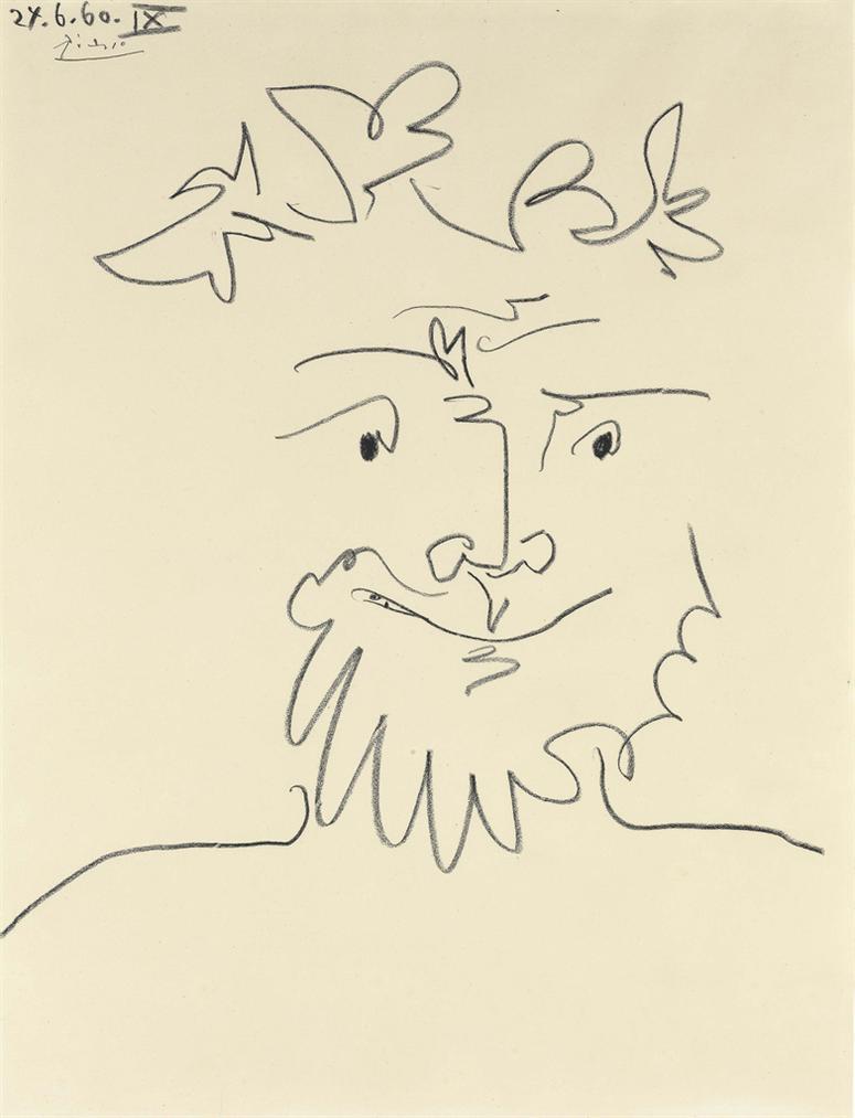 Pablo Picasso-Tete Couronnee-1960