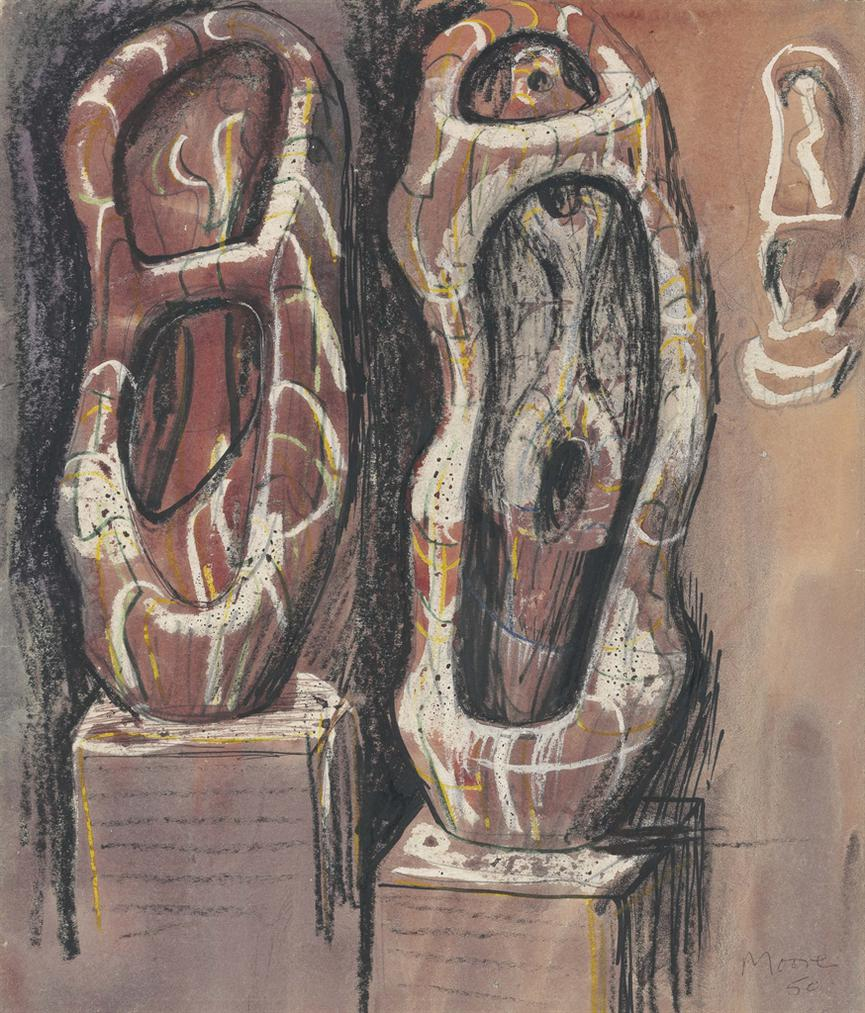 Henry Moore-Ideas For Upright Internal/External Forms-1949
