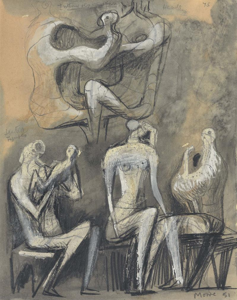 Henry Moore-Seated Figures (Recto And Verso)-1951