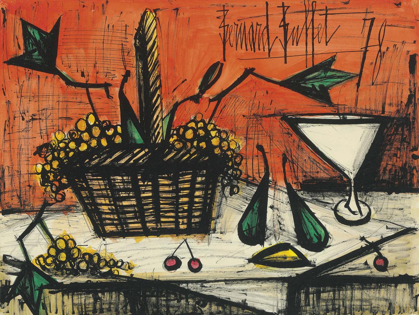 Bernard Buffet-Nature Morte Au Panier De Raisins-1978