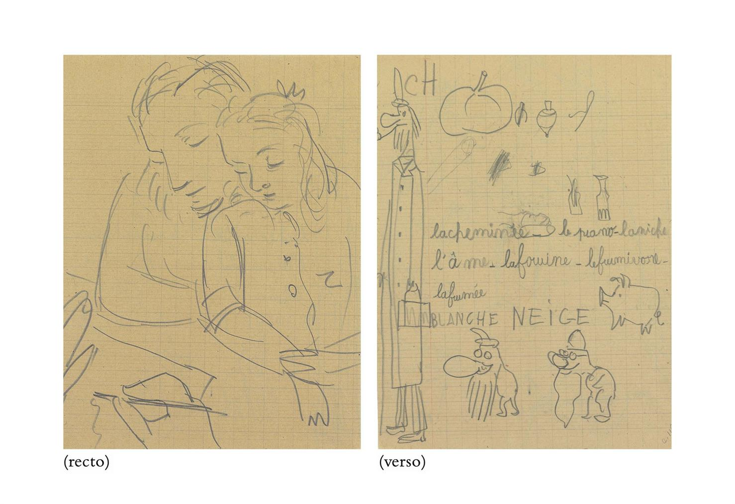 Pablo Picasso-Marie-Therese Et Maya (Recto); Etudes (Verso)-1943