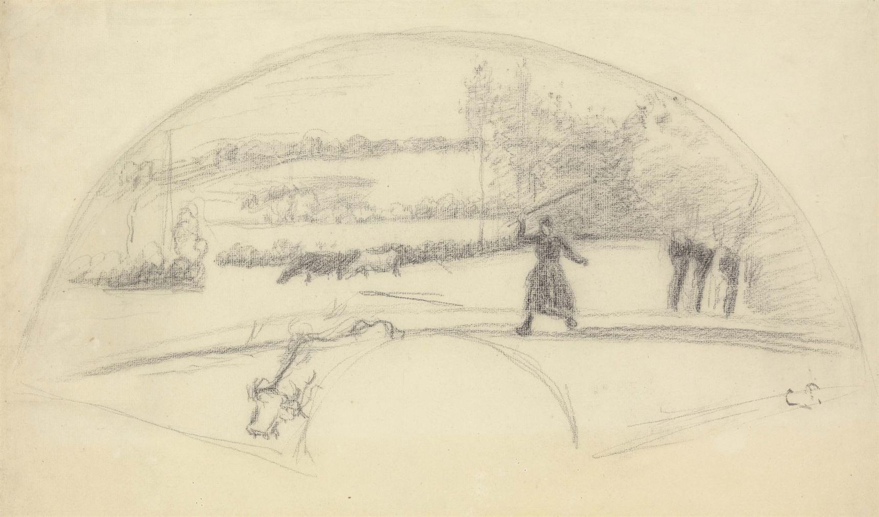 Camille Pissarro-Gardeuse De Vaches, Etude Pour Un Eventail-1886