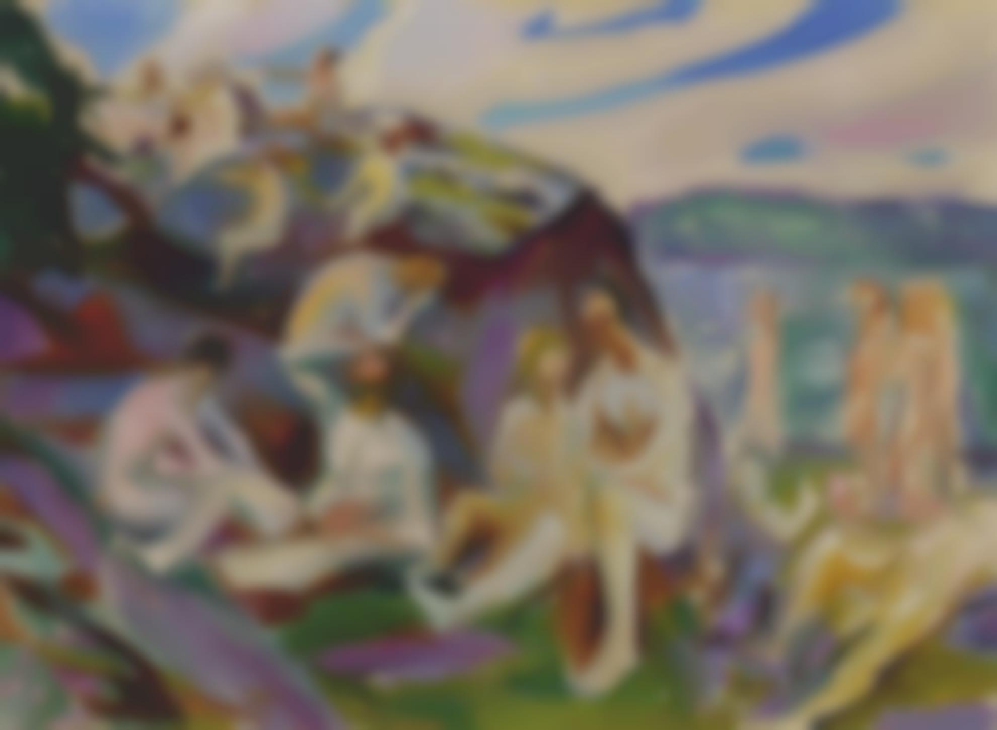 Edvard Munch-Badende Pa Svaberg (Bathers On Rocks)-1915