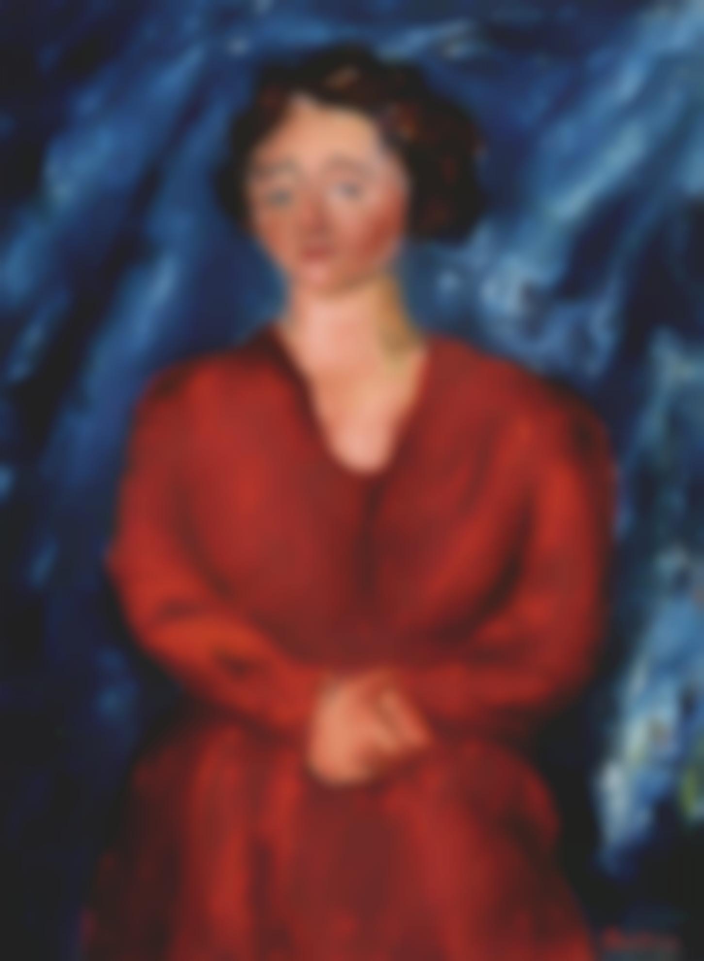 Chaim Soutine-La Femme En Rouge Au Fond Bleu-1928