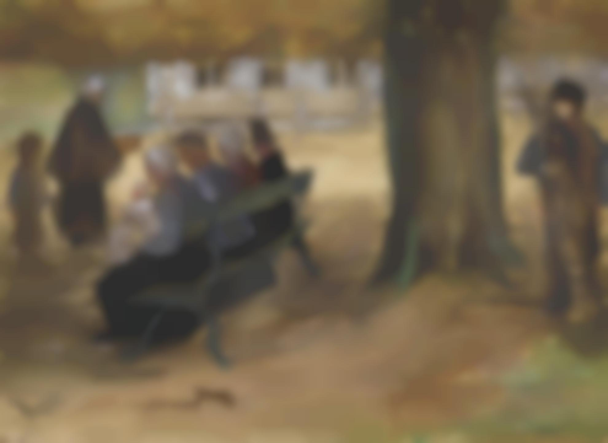 Vincent van Gogh-People Sitting On A Bench In Bezuidenhout, The Hague-1882