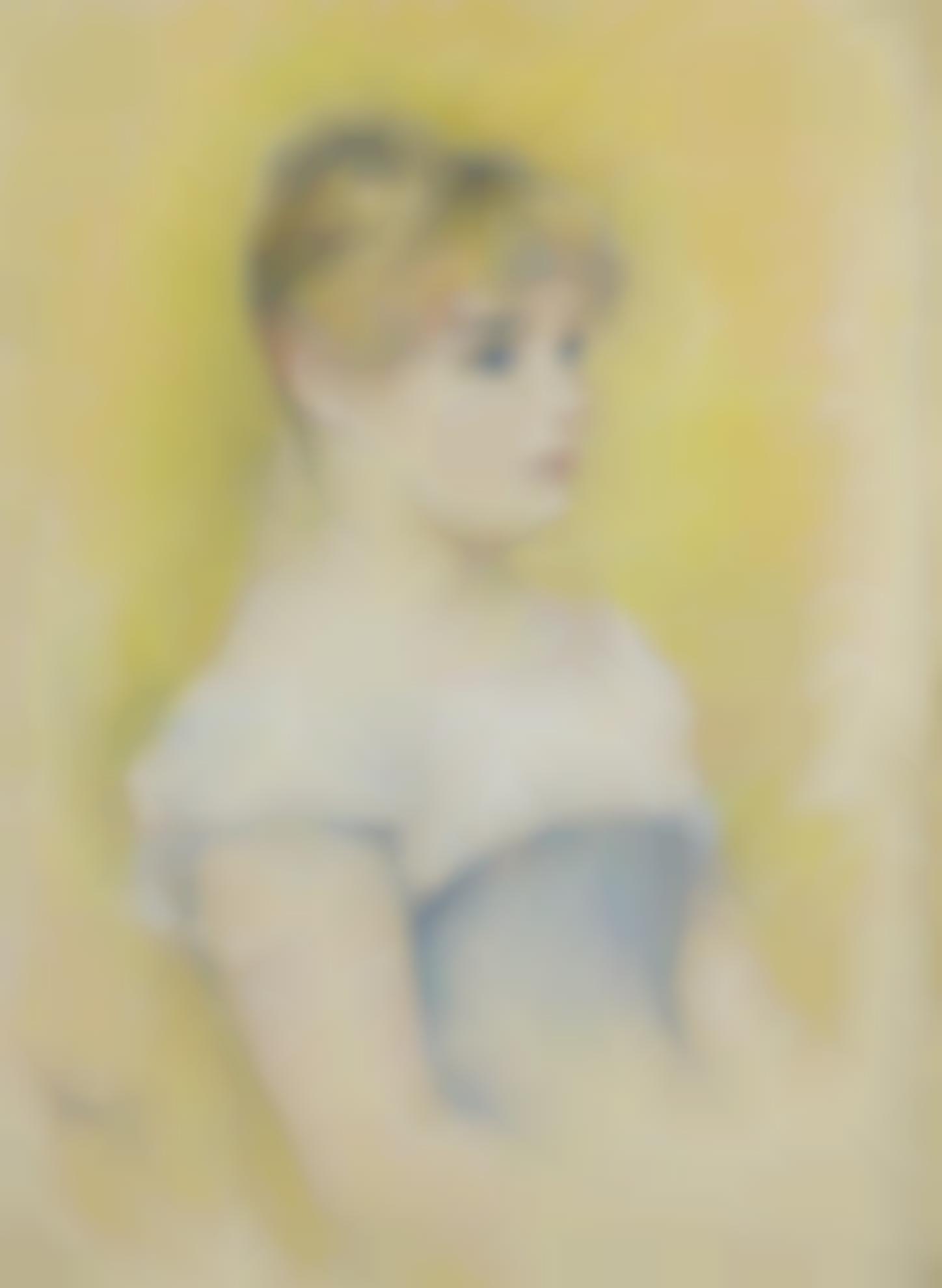 Pierre-Auguste Renoir-Fille Au Corset Bleu (Une Blonde Aux Yeux Bleus, Vue De Trois Quarts Sur Un Fond Jaune)-1890