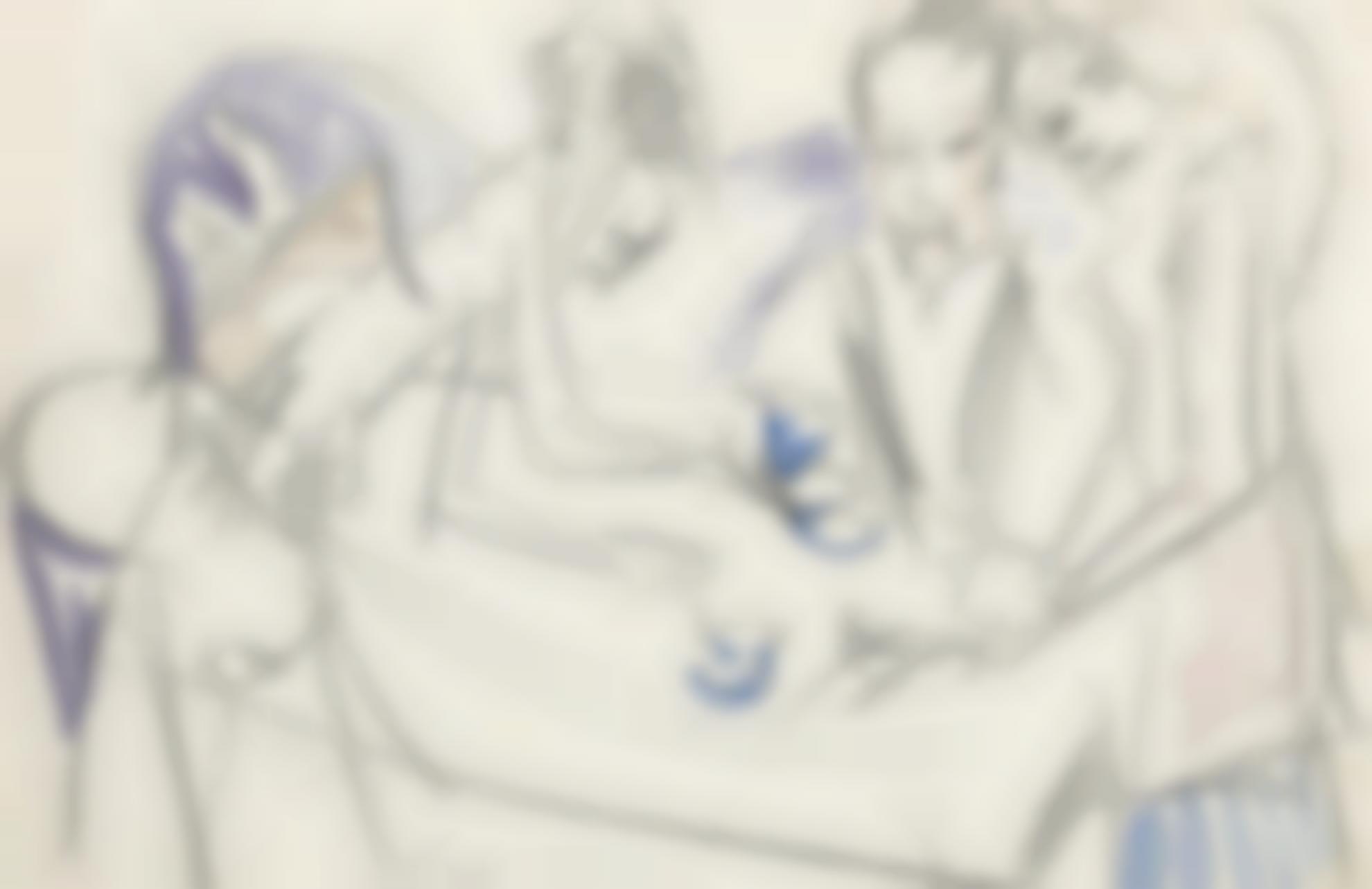 Ernst Ludwig Kirchner-Hugo Mit Zwei Frauen (Hugo With Two Women)-1914