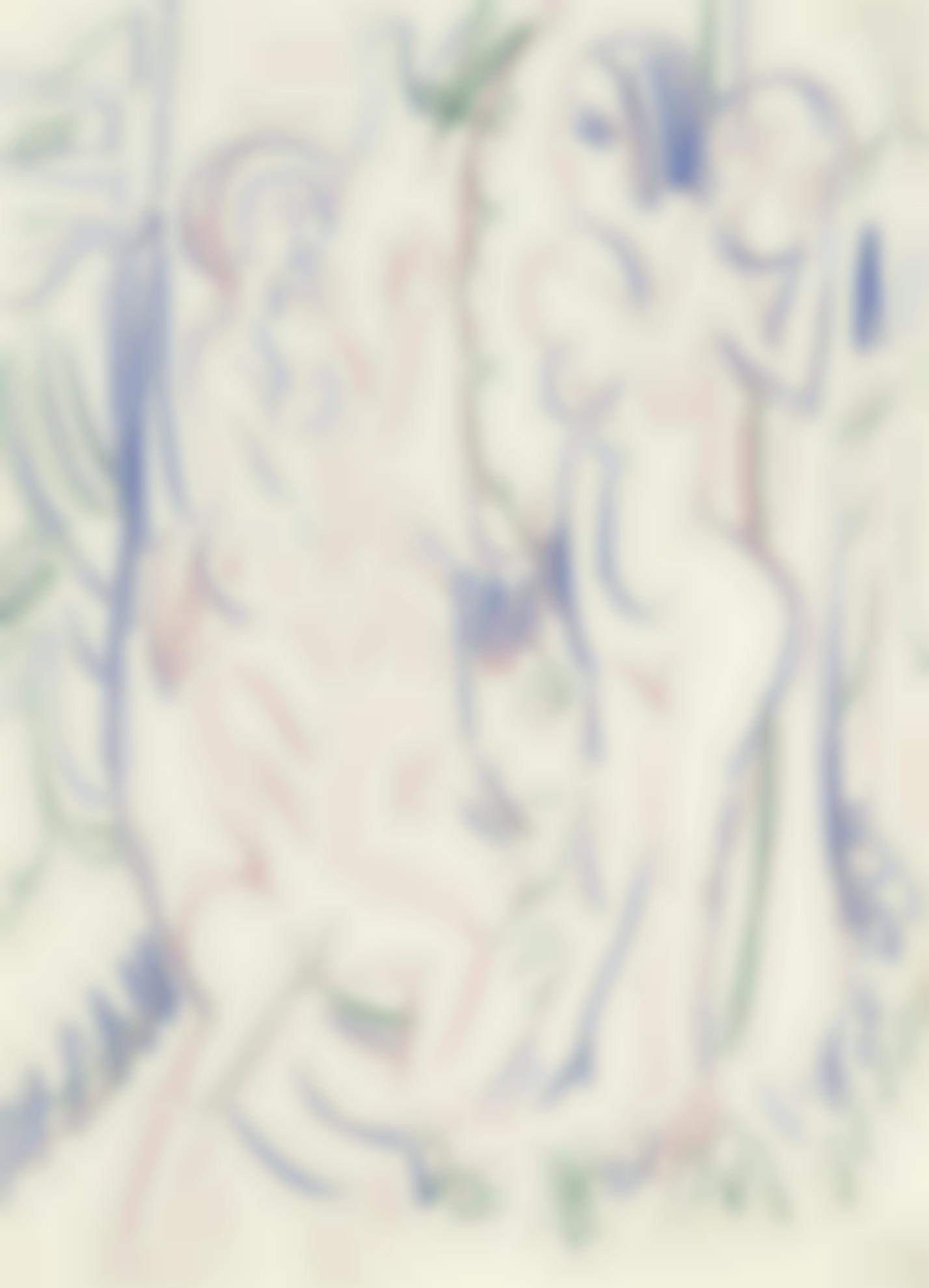 Ernst Ludwig Kirchner-Ballspielende Nackte Frauen Im Wald (Female Nudes Playing Ball In The Woods)-1925