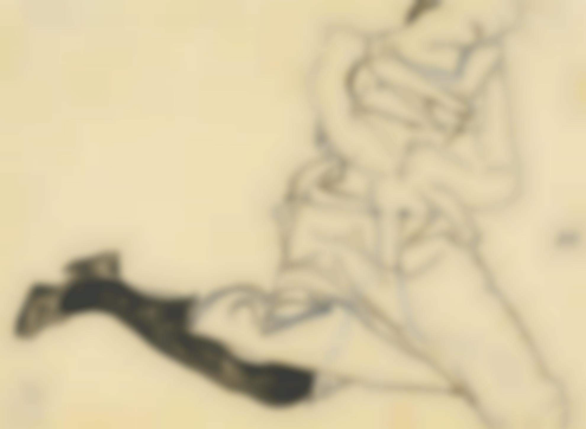 Egon Schiele-Liegendes Madchen Mit Schwarzen Strumpfen (Reclining Girl With Black Stocking)-1913