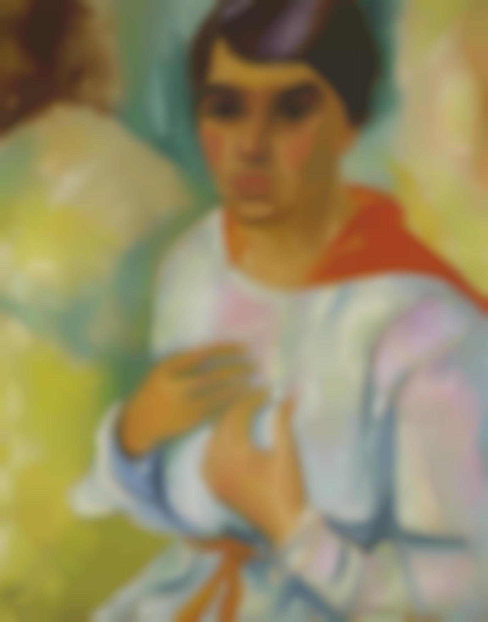 Max Pechstein-Damenbildnis (Charlotte Pechstein) (Portrait Of A Lady, Charlotte Pechstein)-1918
