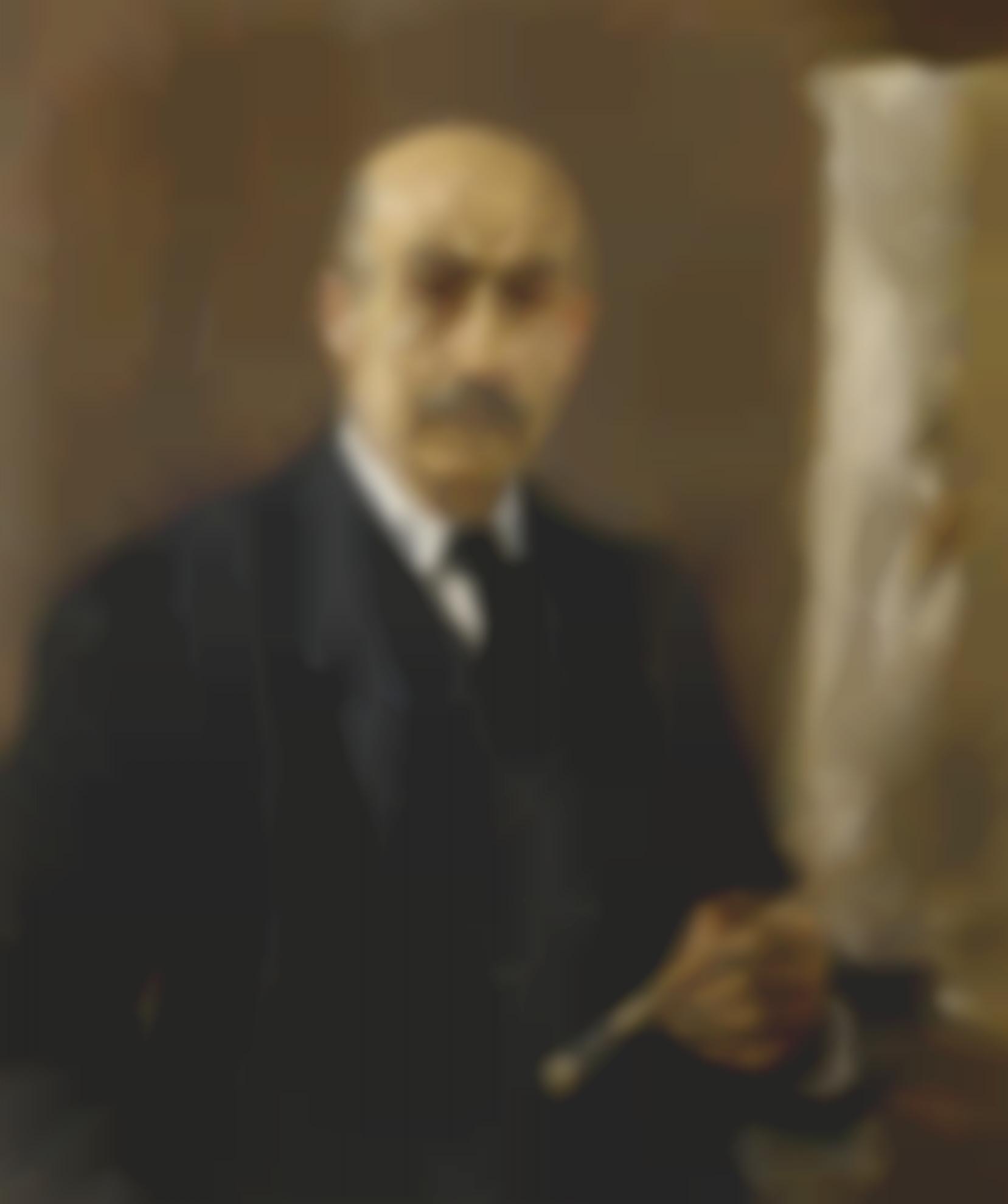 Max Liebermann-Selbstbildnis Im Anzug Der Saffelei (Self-Portrait Wearing A Suit Standing Next To An Easel)-1922