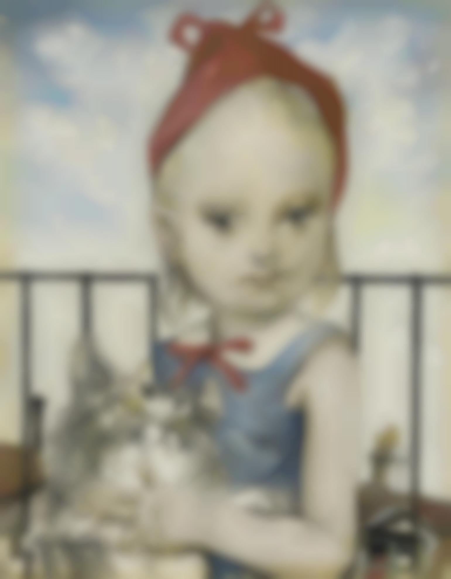 Tsuguharu Foujita-Fillette Au Chat-1953