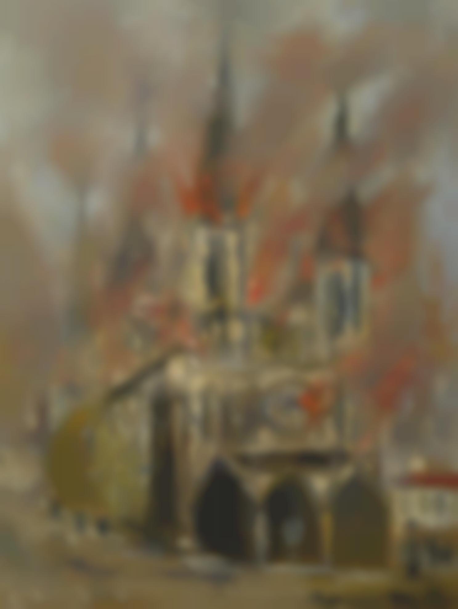 Maurice Utrillo-La Cathedrale De Rouen En Flammes (Seine-Maritime)-1914