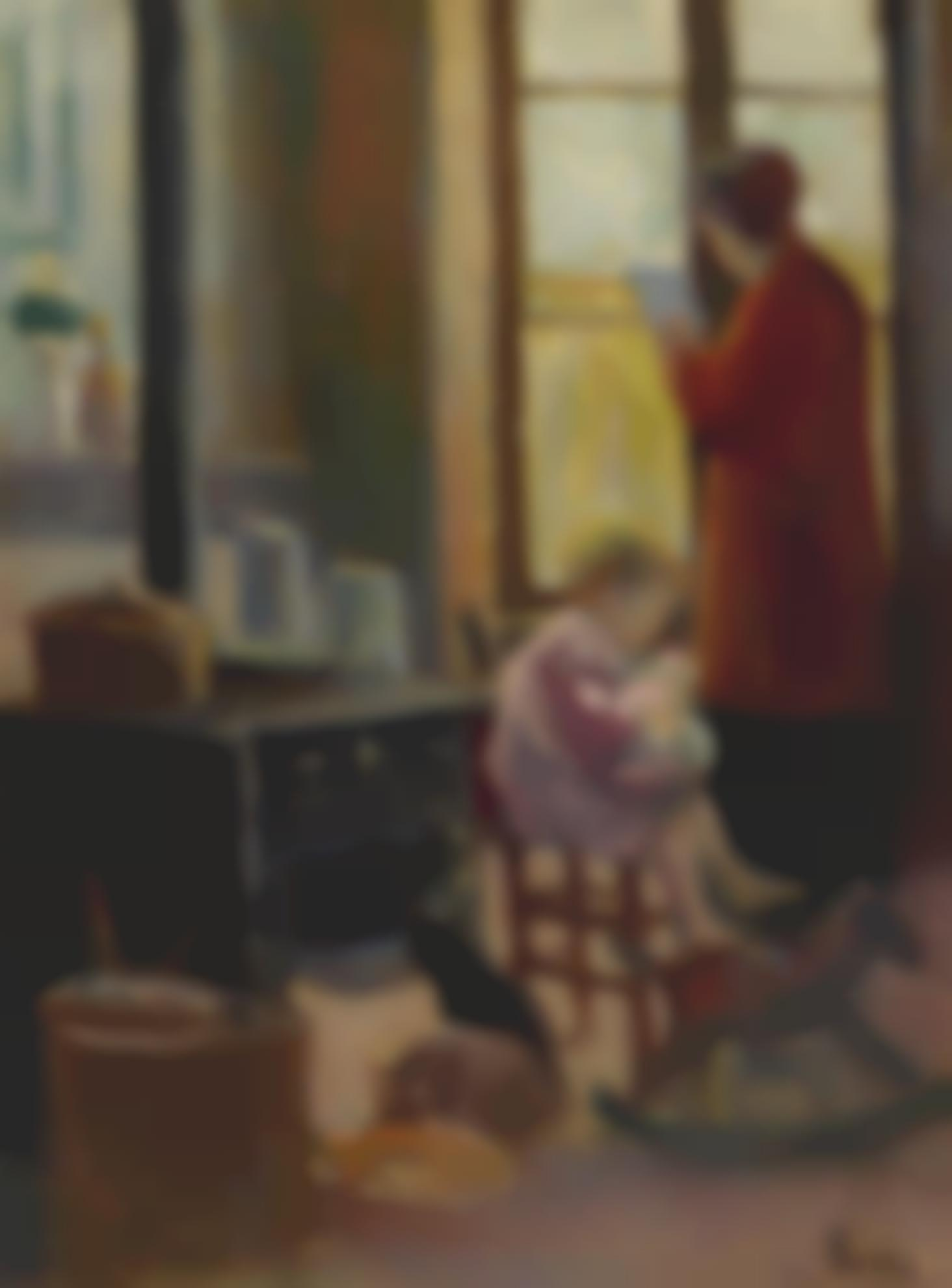 Maximilien Luce-Mere Et Enfant Dans La Cuisine-1915