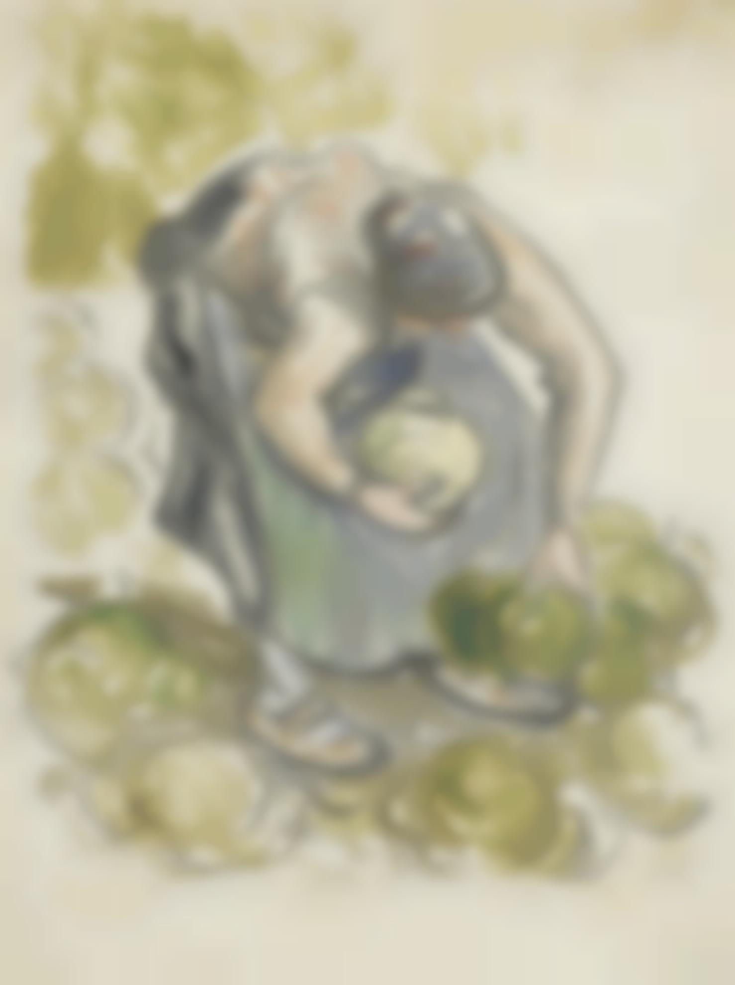 Camille Pissarro-Femme Cueillant Des Choux-1890