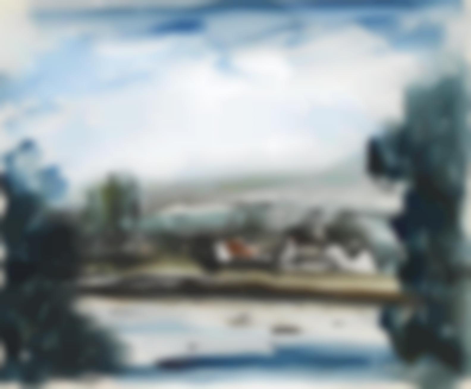 Maurice de Vlaminck-Chateau Au Bord De La Riviere-