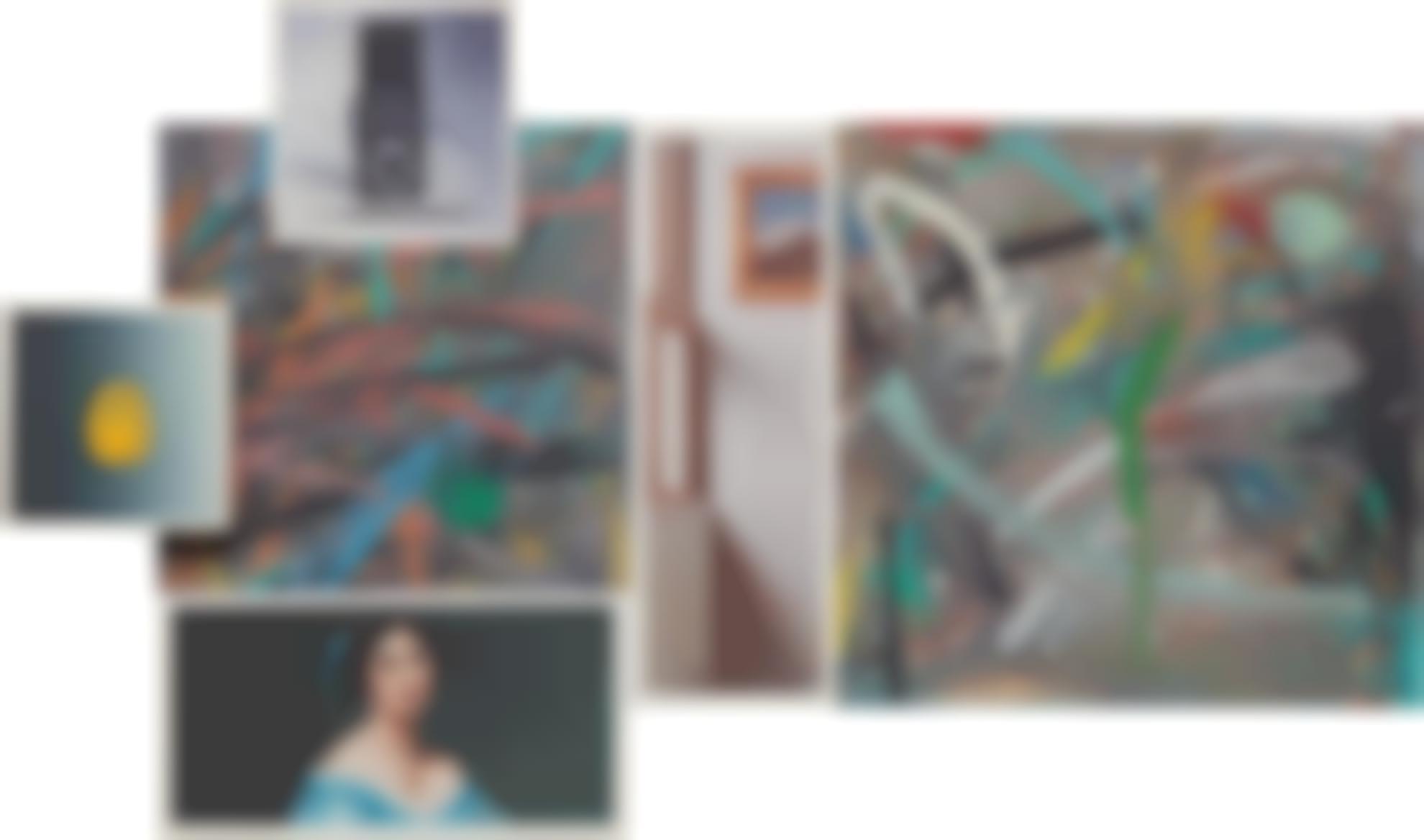 Richard Pettibone-Thumb Print; Camera And Brush; Ingres, The Princess De Broglie, 1853, Detail; Scribbling; Vermeer, Woman Studying At A Virginal, 1670S, Detail; And Scribbling-1978