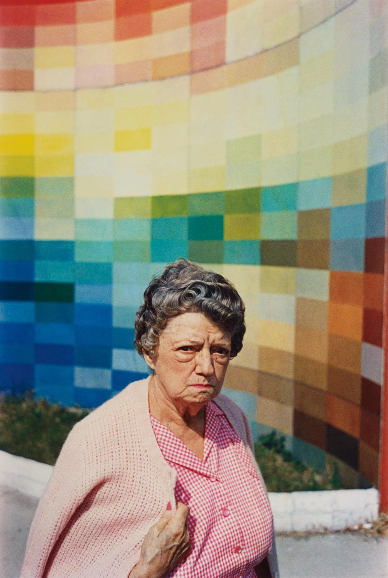 William Eggleston-Untitled (Gingham Woman, Albers Wall)-1974