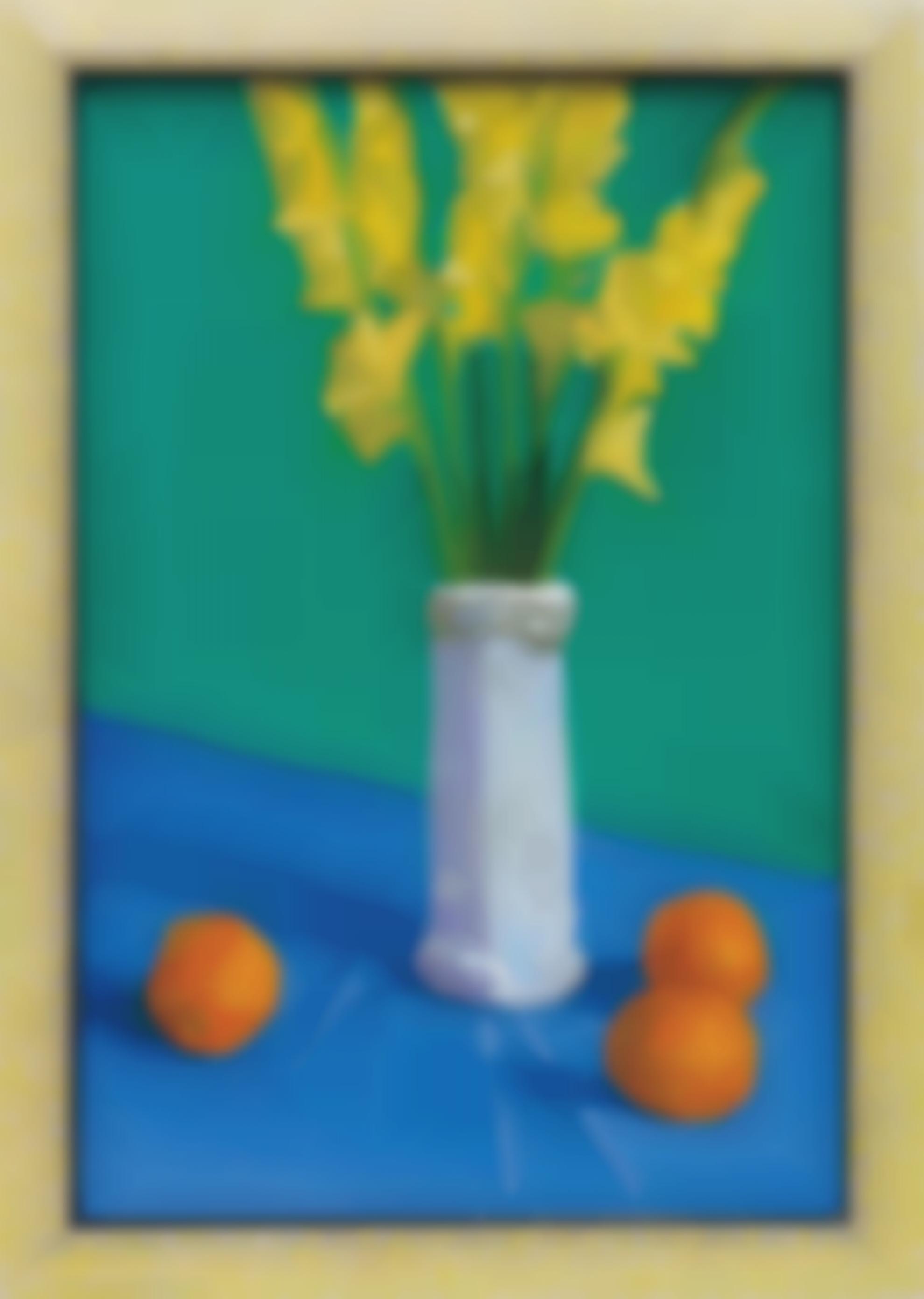 David Hockney-Three Oranges With A Vase-1995