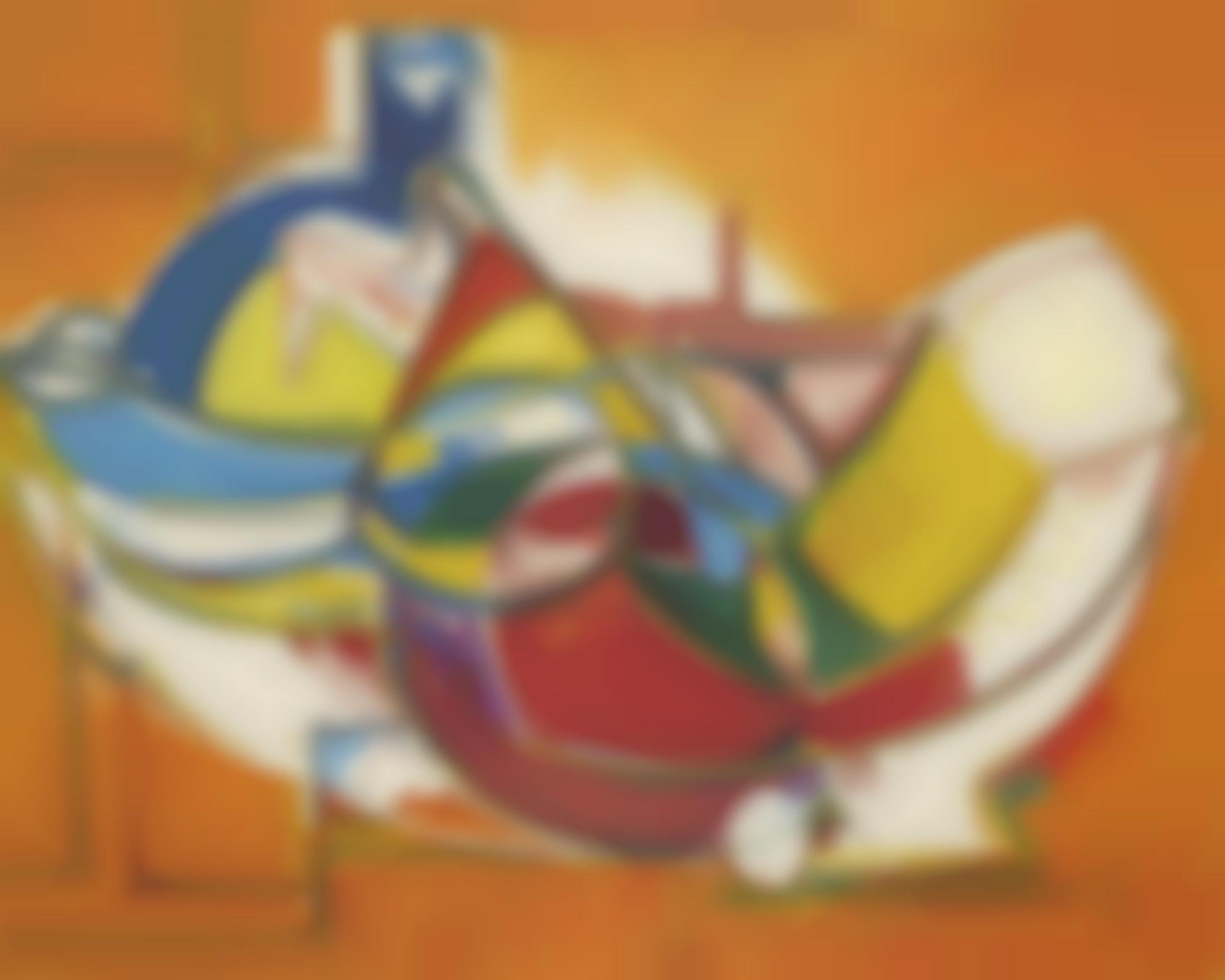 Hans Hofmann-Blue Bottle, Red Round Table-1947